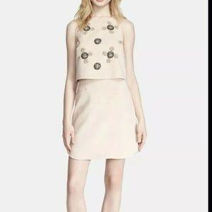 TIBI New York Cluster Pop Beaded Top Dress Beige W